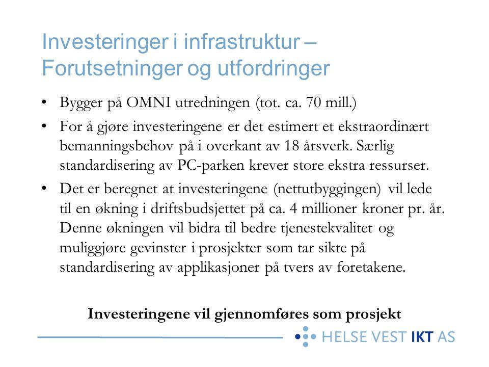 Investeringer i infrastruktur – Forutsetninger og utfordringer •Bygger på OMNI utredningen (tot. ca. 70 mill.) •For å gjøre investeringene er det esti