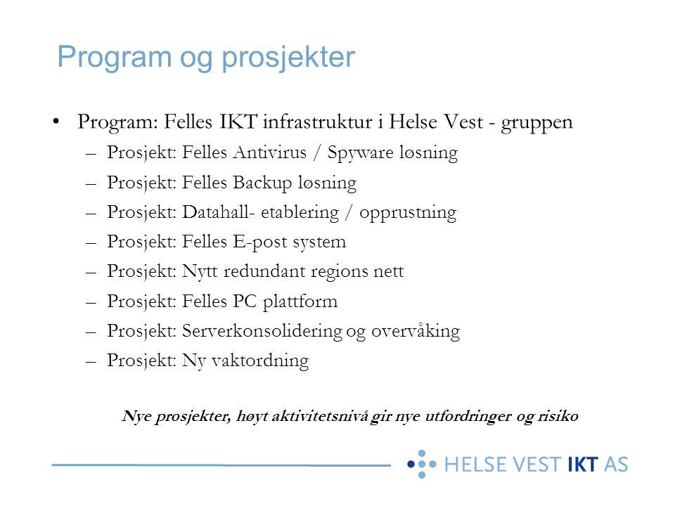 Program og prosjekter •Program: Felles IKT infrastruktur i Helse Vest - gruppen –Prosjekt: Felles Antivirus / Spyware løsning –Prosjekt: Felles Backup