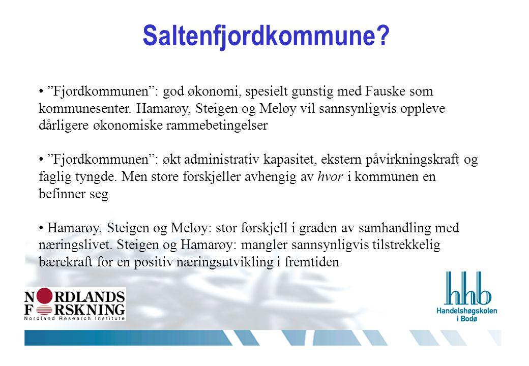 Saltenfjordkommune. • Fjordkommunen : god økonomi, spesielt gunstig med Fauske som kommunesenter.