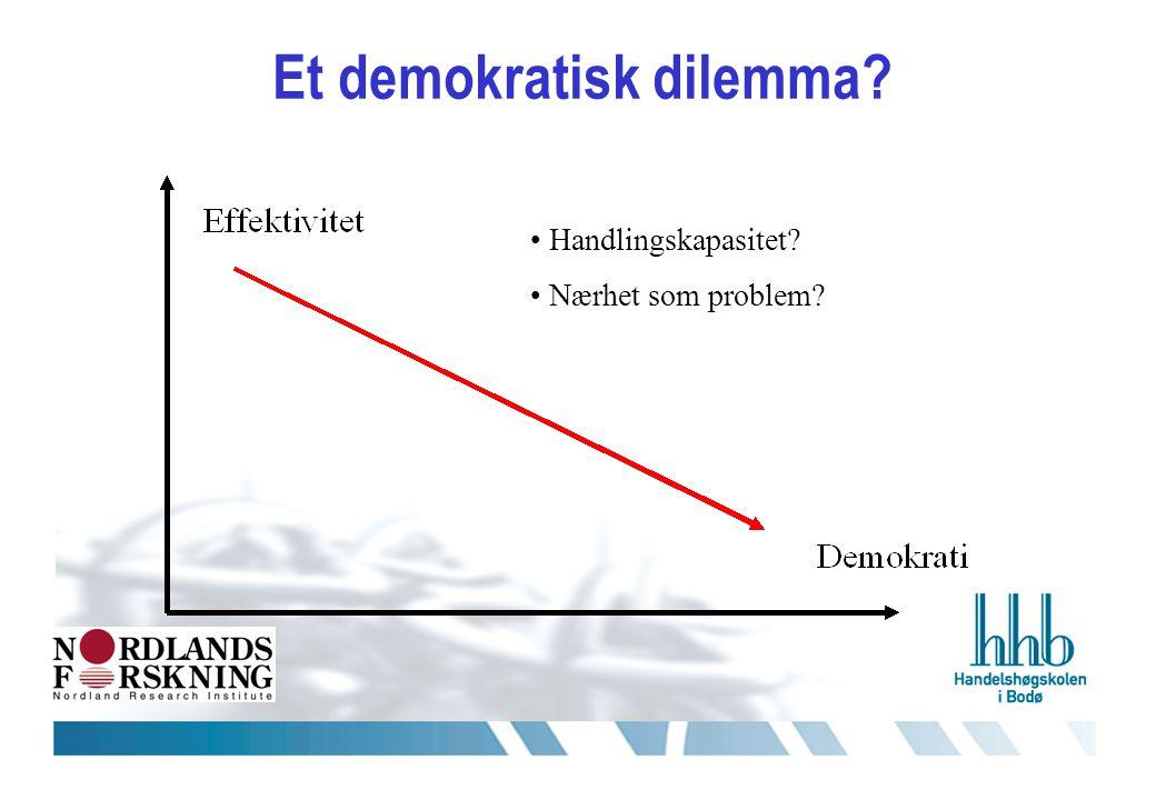 Et demokratisk dilemma • Handlingskapasitet • Nærhet som problem