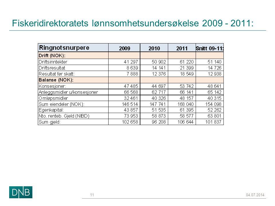 Fiskeridirektoratets lønnsomhetsundersøkelse 2009 - 2011: 04.07.201411