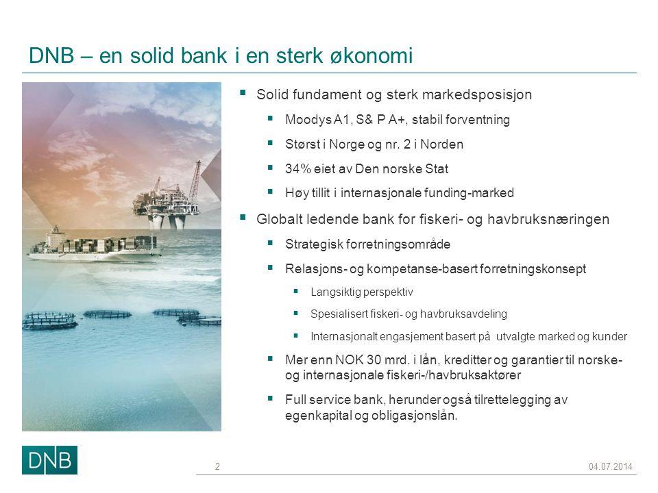 DNB – en solid bank i en sterk økonomi  Solid fundament og sterk markedsposisjon  Moodys A1, S& P A+, stabil forventning  Størst i Norge og nr. 2 i
