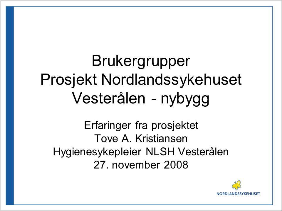 Brukergrupper Prosjekt Nordlandssykehuset Vesterålen - nybygg Erfaringer fra prosjektet Tove A. Kristiansen Hygienesykepleier NLSH Vesterålen 27. nove