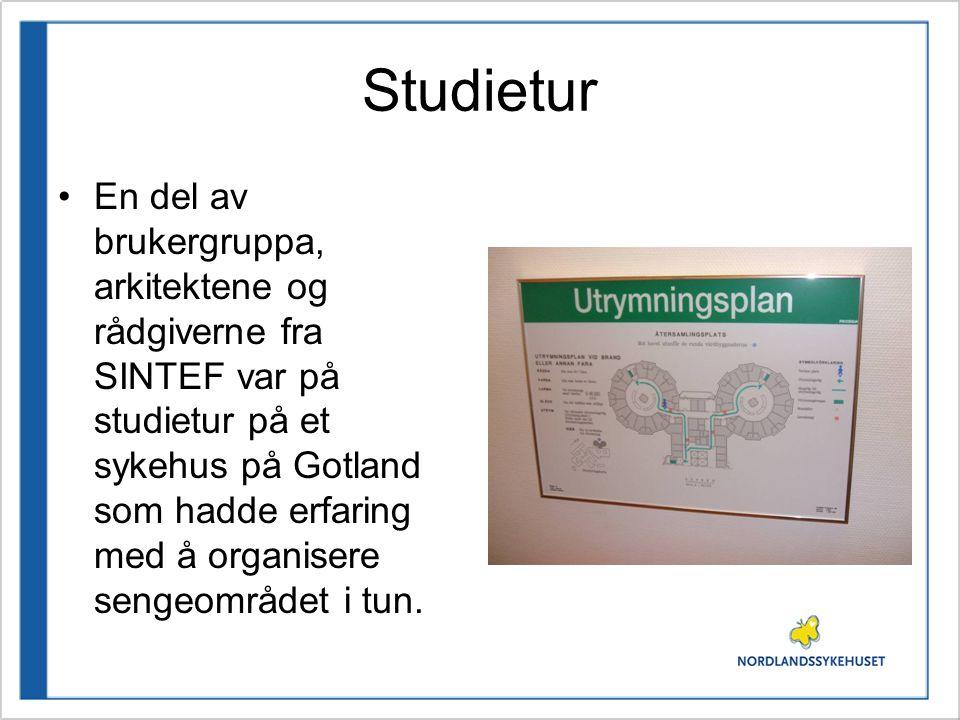 Studietur •En del av brukergruppa, arkitektene og rådgiverne fra SINTEF var på studietur på et sykehus på Gotland som hadde erfaring med å organisere