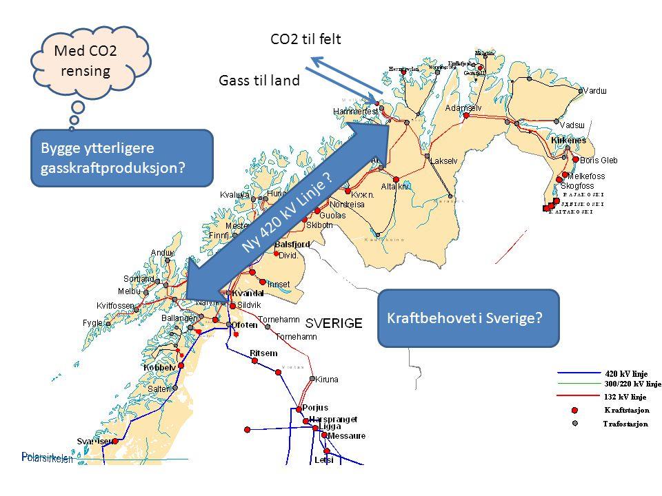 Bygge ytterligere gasskraftproduksjon? Ny 420 kV Linje ? Med CO2 rensing Gass til land CO2 til felt Kraftbehovet i Sverige?