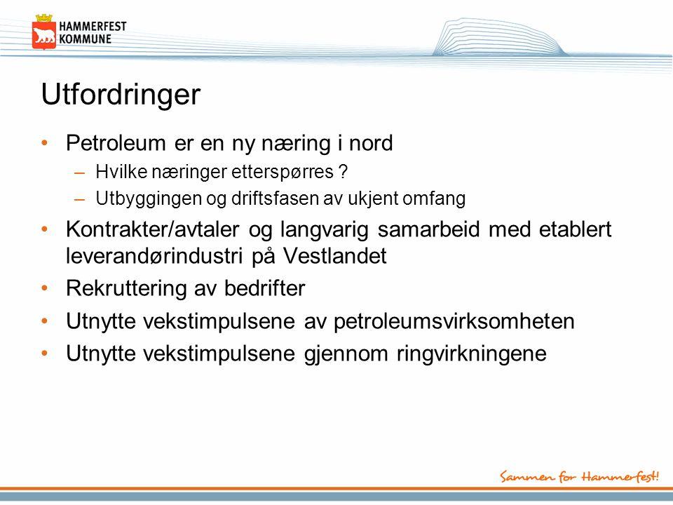 Utfordringer •Petroleum er en ny næring i nord –Hvilke næringer etterspørres ? –Utbyggingen og driftsfasen av ukjent omfang •Kontrakter/avtaler og lan