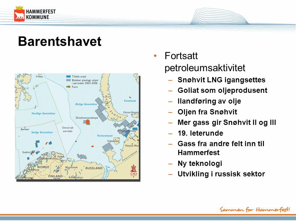 Barentshavet •Fortsatt petroleumsaktivitet –Snøhvit LNG igangsettes –Goliat som oljeprodusent –Ilandføring av olje –Oljen fra Snøhvit –Mer gass gir Sn