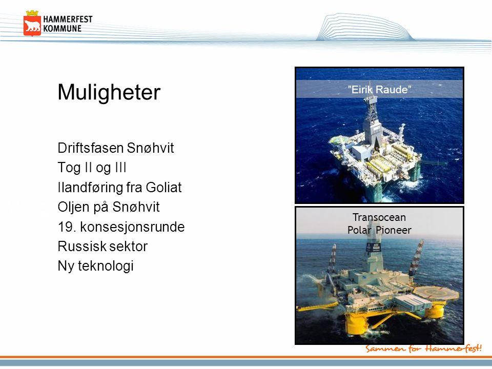 Muligheter Driftsfasen Snøhvit Tog II og III Ilandføring fra Goliat Oljen på Snøhvit 19. konsesjonsrunde Russisk sektor Ny teknologi Transocean Polar