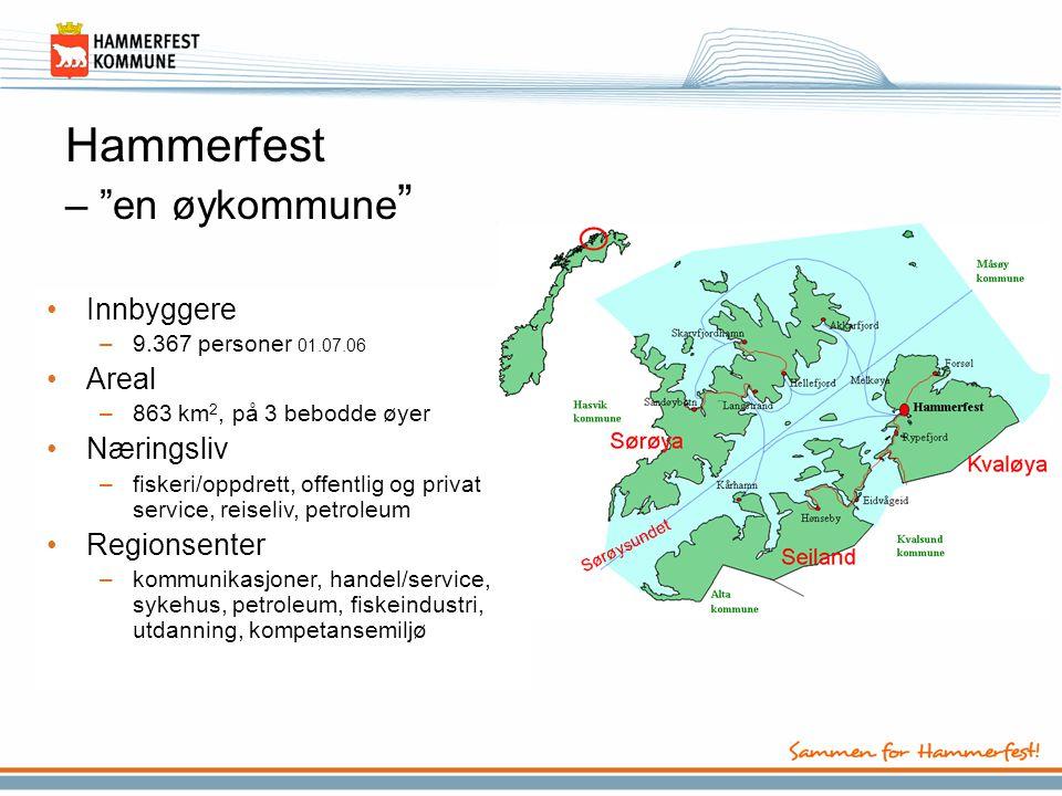 """Hammerfest – """"en øykommune """" •Innbyggere –9.367 personer 01.07.06 •Areal –863 km 2, på 3 bebodde øyer •Næringsliv –fiskeri/oppdrett, offentlig og priv"""