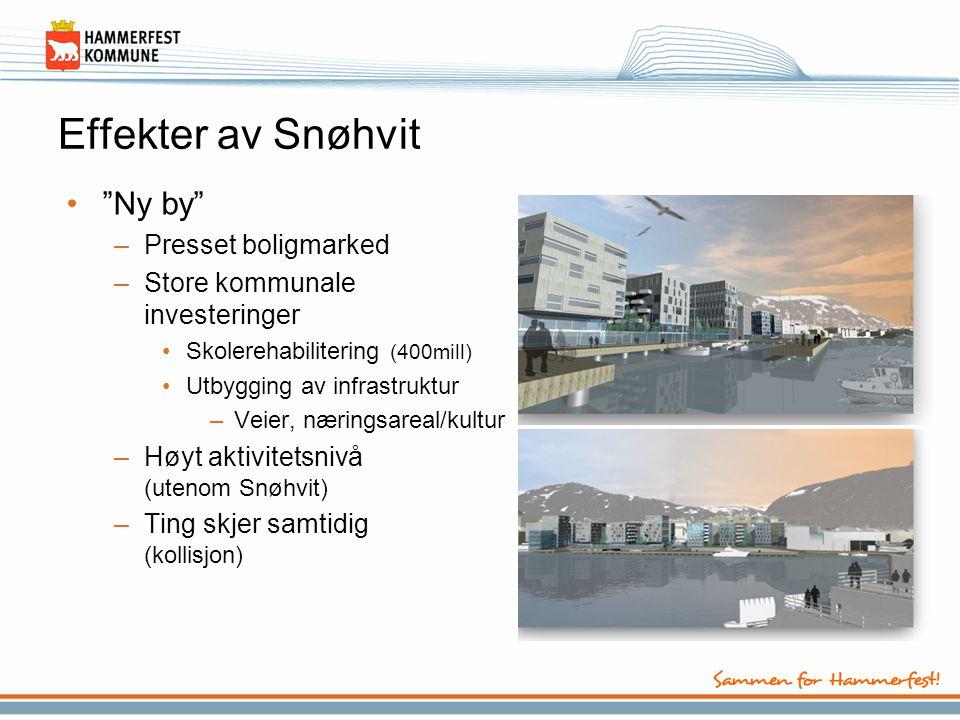 """Effekter av Snøhvit •""""Ny by"""" –Presset boligmarked –Store kommunale investeringer •Skolerehabilitering (400mill) •Utbygging av infrastruktur –Veier, næ"""