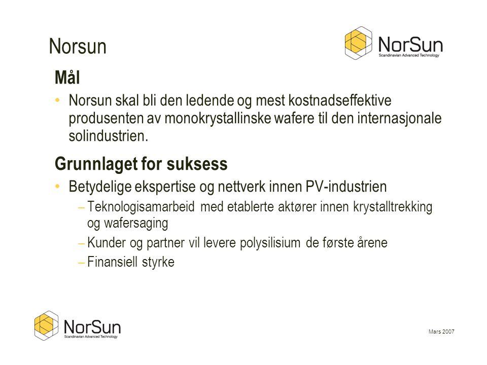 Mars 2007 Norsun Mål • Norsun skal bli den ledende og mest kostnadseffektive produsenten av monokrystallinske wafere til den internasjonale solindustr