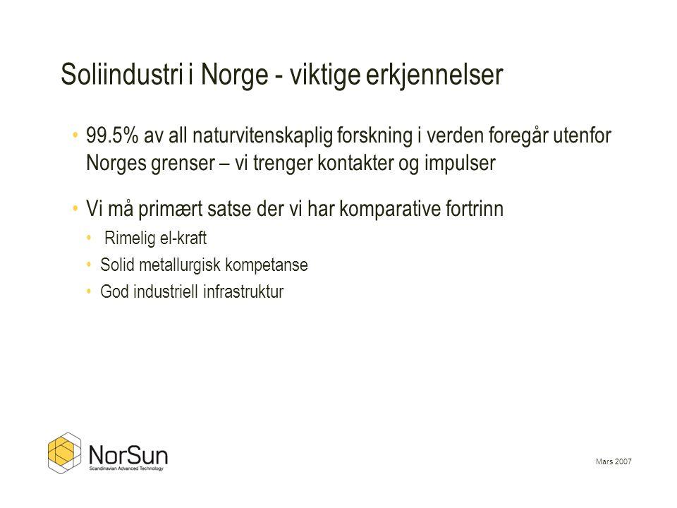 Mars 2007 •99.5% av all naturvitenskaplig forskning i verden foregår utenfor Norges grenser – vi trenger kontakter og impulser •Vi må primært satse de