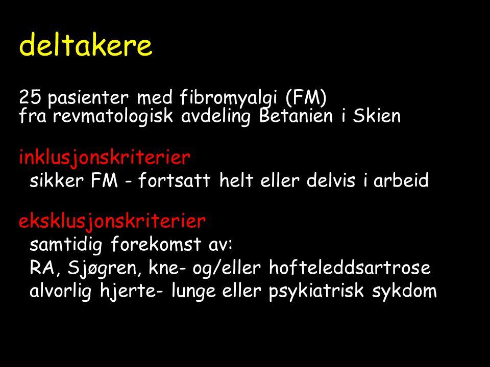 deltakere 25 pasienter med fibromyalgi (FM) fra revmatologisk avdeling Betanien i Skien inklusjonskriterier sikker FM - fortsatt helt eller delvis i arbeid eksklusjonskriterier samtidig forekomst av: RA, Sjøgren, kne- og/eller hofteleddsartrose alvorlig hjerte- lunge eller psykiatrisk sykdom