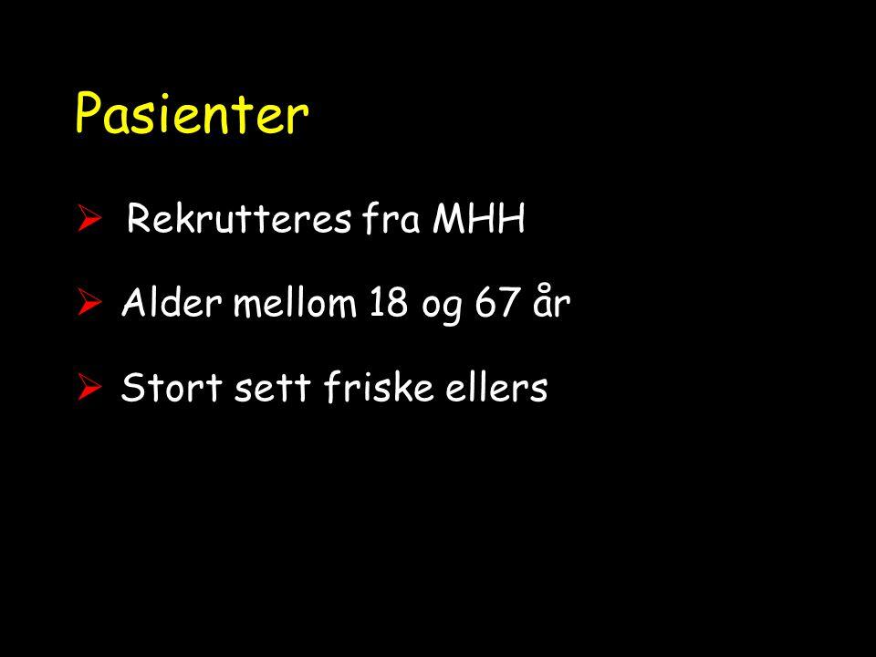 Pasienter  Rekrutteres fra MHH  Alder mellom 18 og 67 år  Stort sett friske ellers