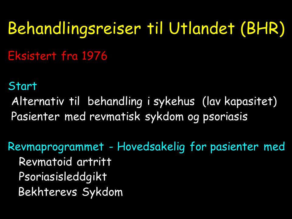 Behandlingsreiser til Utlandet (BHR) Eksistert fra 1976 Start Alternativ til behandling i sykehus (lav kapasitet) Pasienter med revmatisk sykdom og ps