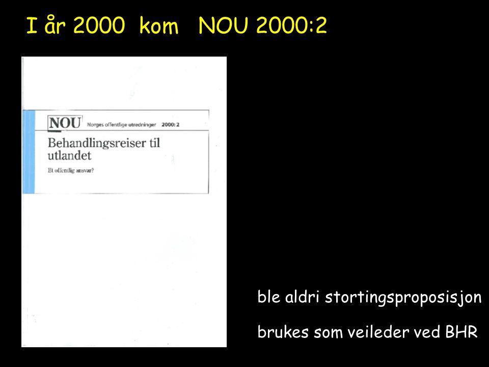 ble aldri stortingsproposisjon brukes som veileder ved BHR I år 2000 kom NOU 2000:2