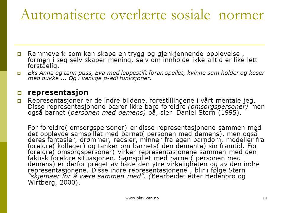 www.olaviken.no10 Automatiserte overlærte sosiale normer  Rammeverk som kan skape en trygg og gjenkjennende opplevelse, formen i seg selv skaper meni
