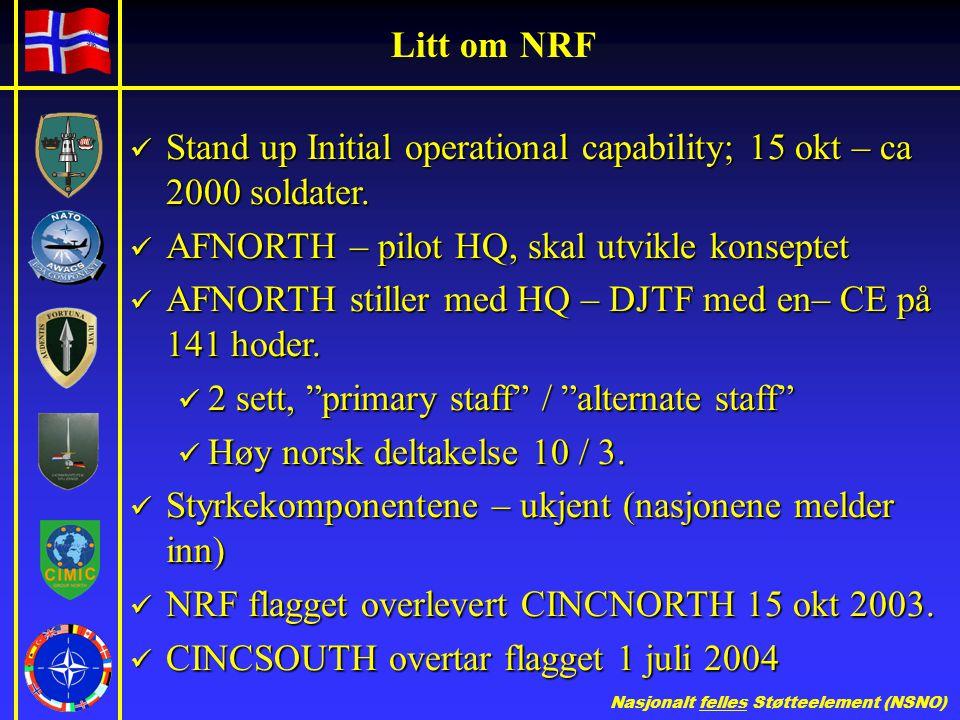 Nasjonalt felles Støtteelement (NSNO) Litt om NRF  Stand up Initial operational capability; 15 okt – ca 2000 soldater.