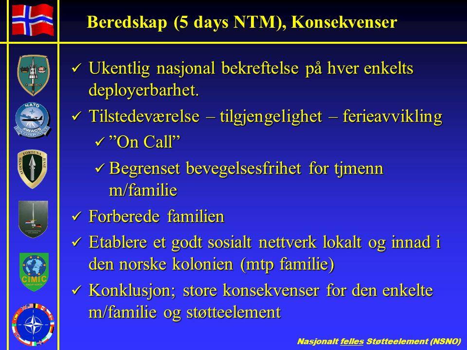 Nasjonalt felles Støtteelement (NSNO) Beredskap (5 days NTM), Konsekvenser  Ukentlig nasjonal bekreftelse på hver enkelts deployerbarhet.