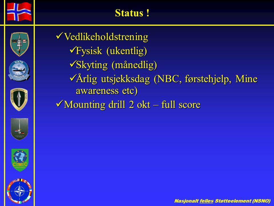 Nasjonalt felles Støtteelement (NSNO) Status .