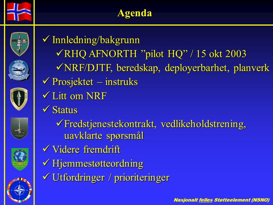 Nasjonalt felles Støtteelement (NSNO) Agenda  Innledning/bakgrunn  RHQ AFNORTH pilot HQ / 15 okt 2003  NRF/DJTF, beredskap, deployerbarhet, planverk  Prosjektet – instruks  Litt om NRF  Status  Fredstjenestekontrakt, vedlikeholdstrening, uavklarte spørsmål  Videre fremdrift  Hjemmestøtteordning  Utfordringer / prioriteringer
