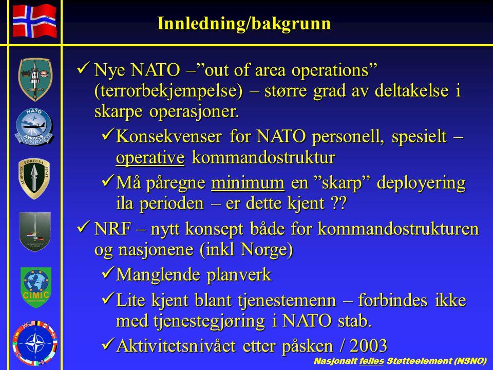 Nasjonalt felles Støtteelement (NSNO) Innledning/bakgrunn  Nye NATO – out of area operations (terrorbekjempelse) – større grad av deltakelse i skarpe operasjoner.