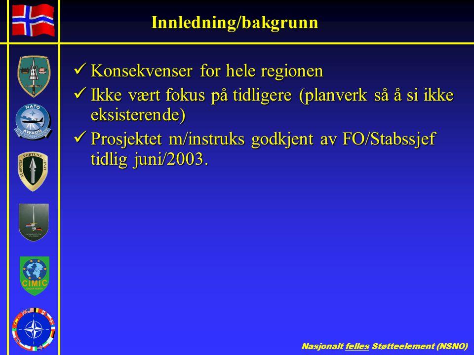 Nasjonalt felles Støtteelement (NSNO) Innledning/bakgrunn  Konsekvenser for hele regionen  Ikke vært fokus på tidligere (planverk så å si ikke eksisterende)  Prosjektet m/instruks godkjent av FO/Stabssjef tidlig juni/2003.