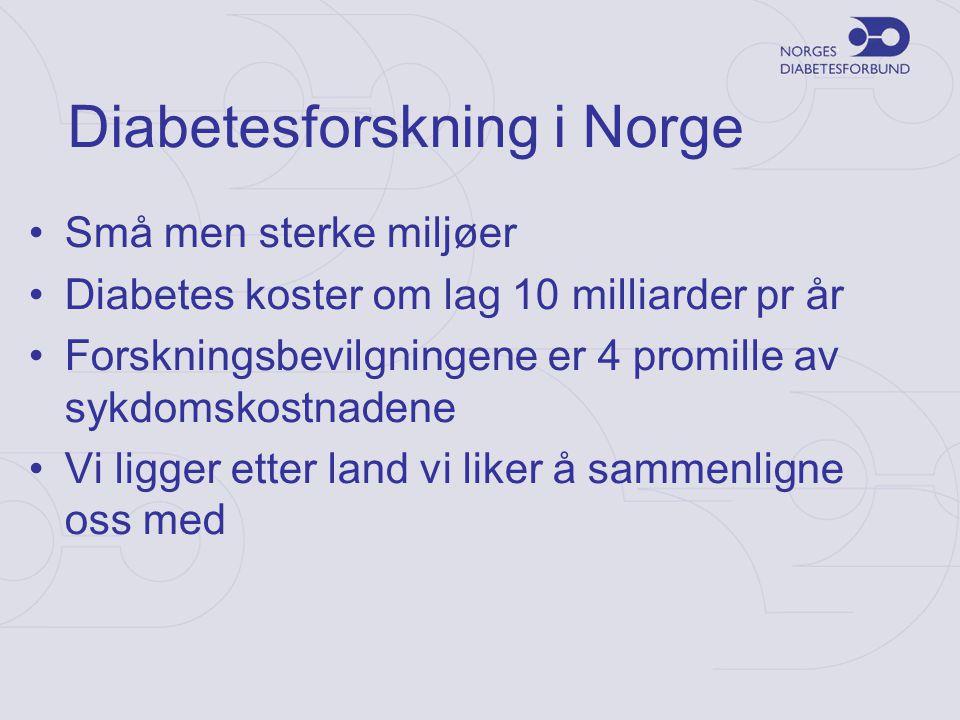 Diabetesforskning i Norge •Små men sterke miljøer •Diabetes koster om lag 10 milliarder pr år •Forskningsbevilgningene er 4 promille av sykdomskostnad