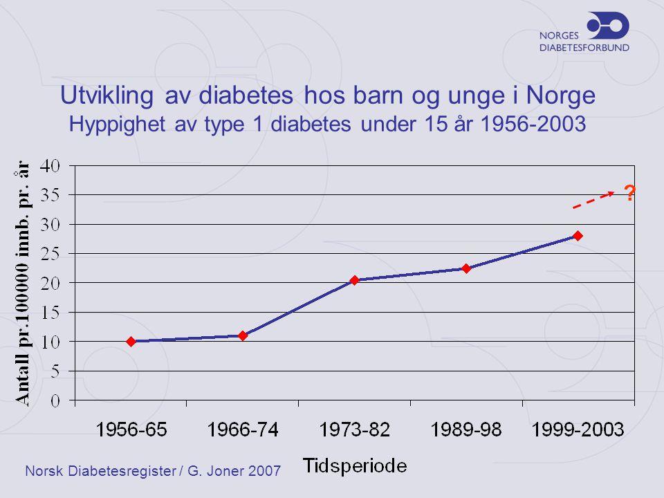 Utvikling av diabetes hos barn og unge i Norge Hyppighet av type 1 diabetes under 15 år 1956-2003 ? Norsk Diabetesregister / G. Joner 2007