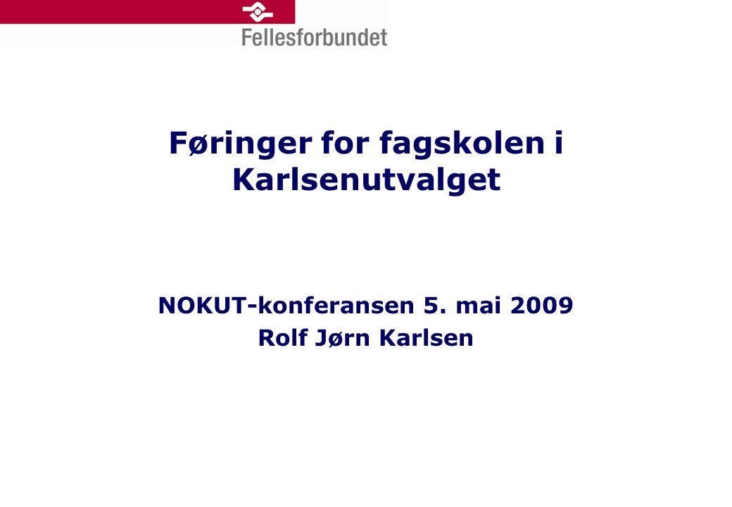 Føringer for fagskolen i Karlsenutvalget NOKUT-konferansen 5. mai 2009 Rolf Jørn Karlsen