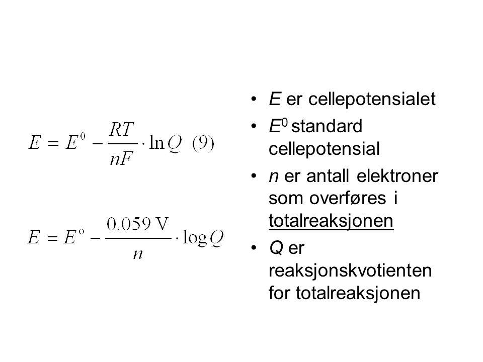 •E er cellepotensialet •E 0 standard cellepotensial •n er antall elektroner som overføres i totalreaksjonen •Q er reaksjonskvotienten for totalreaksjonen