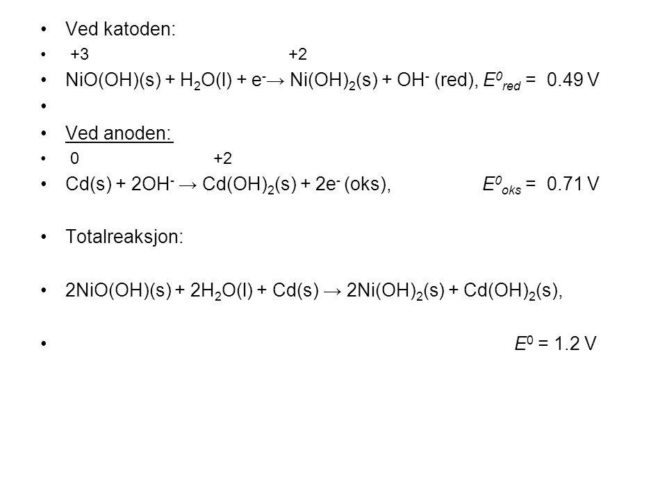 •Ved katoden: • +3 +2 •NiO(OH)(s) + H 2 O(l) + e - → Ni(OH) 2 (s) + OH - (red), E 0 red = 0.49 V • •Ved anoden: • 0 +2 •Cd(s) + 2OH - → Cd(OH) 2 (s) + 2e - (oks), E 0 oks = 0.71 V •Totalreaksjon: •2NiO(OH)(s) + 2H 2 O(l) + Cd(s) → 2Ni(OH) 2 (s) + Cd(OH) 2 (s), • E 0 = 1.2 V