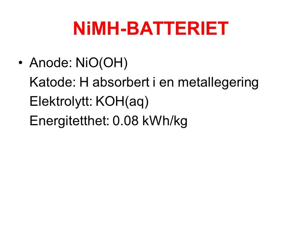 NiMH-BATTERIET •Anode: NiO(OH) Katode: H absorbert i en metallegering Elektrolytt: KOH(aq) Energitetthet: 0.08 kWh/kg