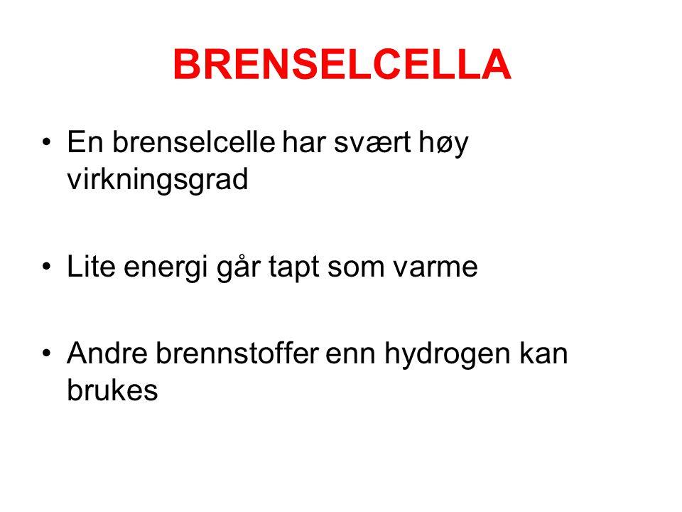 BRENSELCELLA •En brenselcelle har svært høy virkningsgrad •Lite energi går tapt som varme •Andre brennstoffer enn hydrogen kan brukes