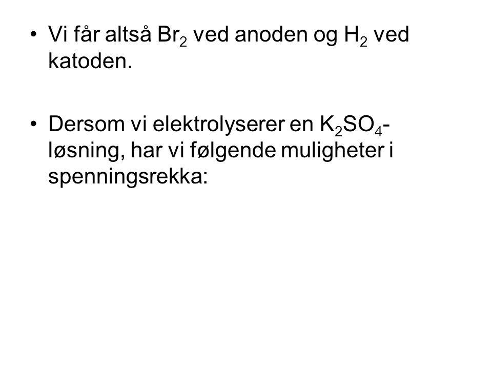•Vi får altså Br 2 ved anoden og H 2 ved katoden. •Dersom vi elektrolyserer en K 2 SO 4 - løsning, har vi følgende muligheter i spenningsrekka: