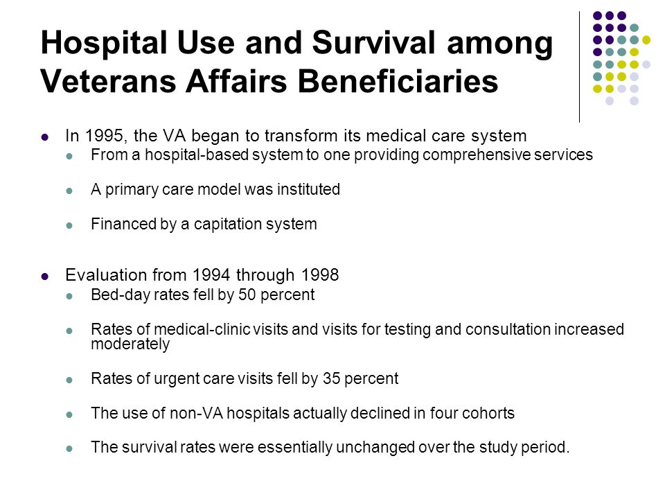 Hospital Use and Survival among Veterans Affairs Beneficiaries  In 1995, the VA began to transform its medical care system  From a hospital-based system to one providing comprehensive services  A primary care model was instituted  Financed by a capitation system  Evaluation from 1994 through 1998  Bed-day rates fell by 50 percent  Rates of medical-clinic visits and visits for testing and consultation increased moderately  Rates of urgent care visits fell by 35 percent  The use of non-VA hospitals actually declined in four cohorts  The survival rates were essentially unchanged over the study period.