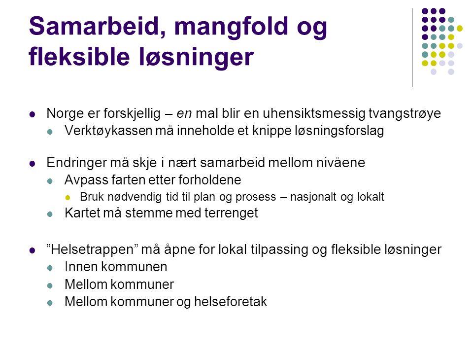 Samarbeid, mangfold og fleksible løsninger  Norge er forskjellig – en mal blir en uhensiktsmessig tvangstrøye  Verktøykassen må inneholde et knippe