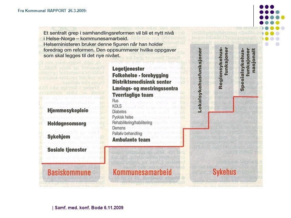| Samf. med. konf. Bodø 6.11.2009 | 8 Fra Kommunal RAPPORT 26.3.2009: