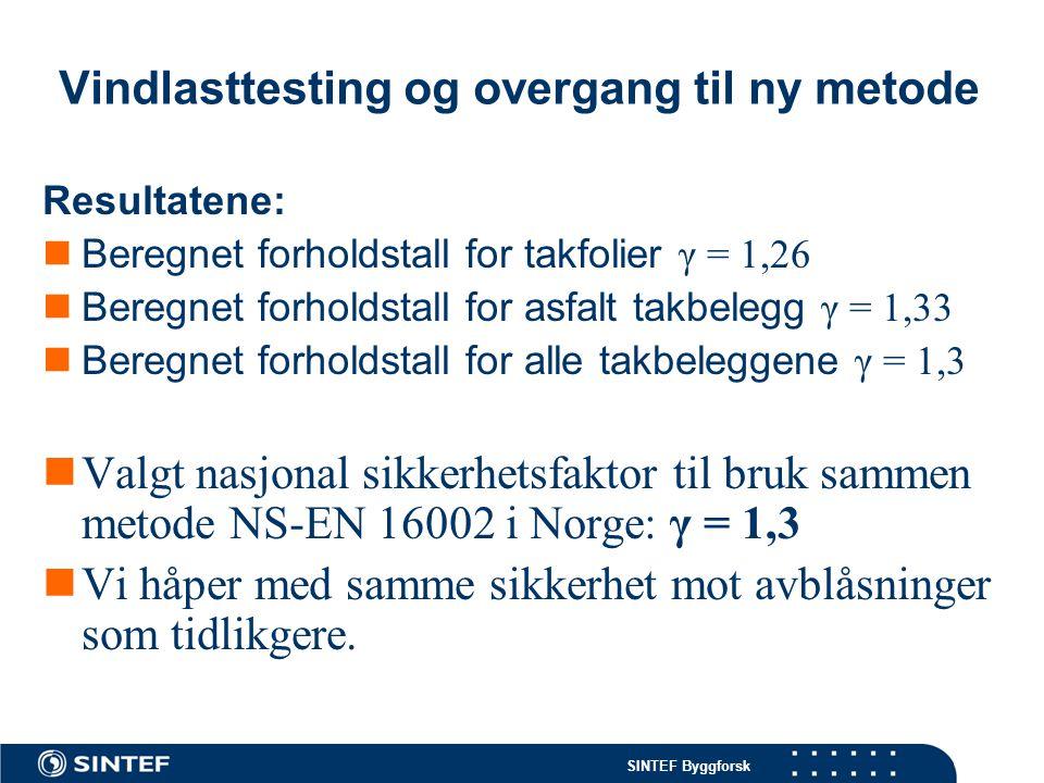 SINTEF Byggforsk Vindlasttesting og overgang til ny metode Tilleggsvurdering:  Under montasje ble det lagt vekt på korrekt utførelse.