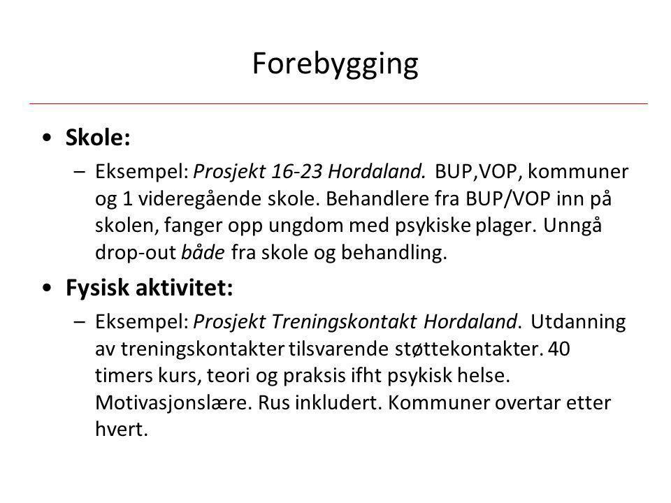Forebygging •Skole: –Eksempel: Prosjekt 16-23 Hordaland. BUP,VOP, kommuner og 1 videregående skole. Behandlere fra BUP/VOP inn på skolen, fanger opp u