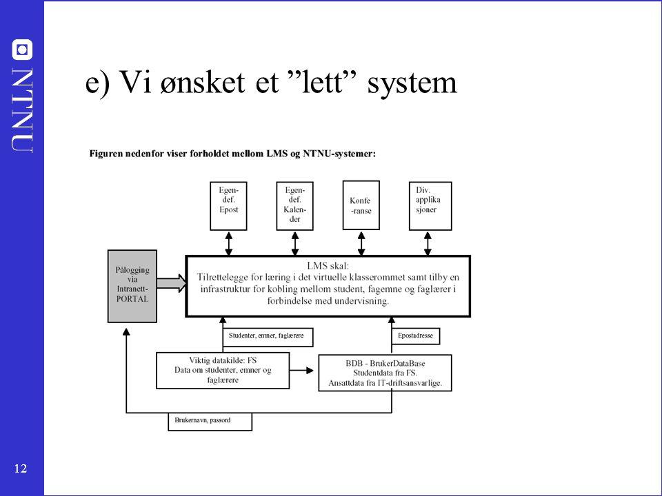 12 e) Vi ønsket et lett system