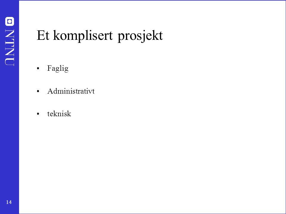 14 Et komplisert prosjekt •Faglig •Administrativt •teknisk