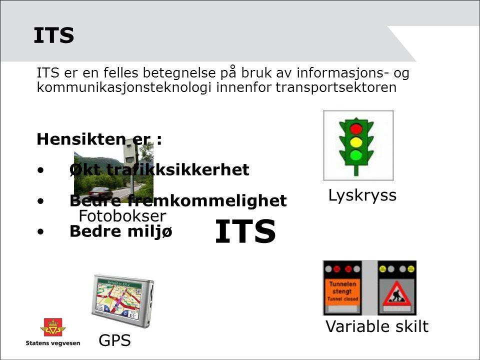 ITS ITS er en felles betegnelse på bruk av informasjons- og kommunikasjonsteknologi innenfor transportsektoren ITS Lyskryss Fotobokser GPS Variable sk
