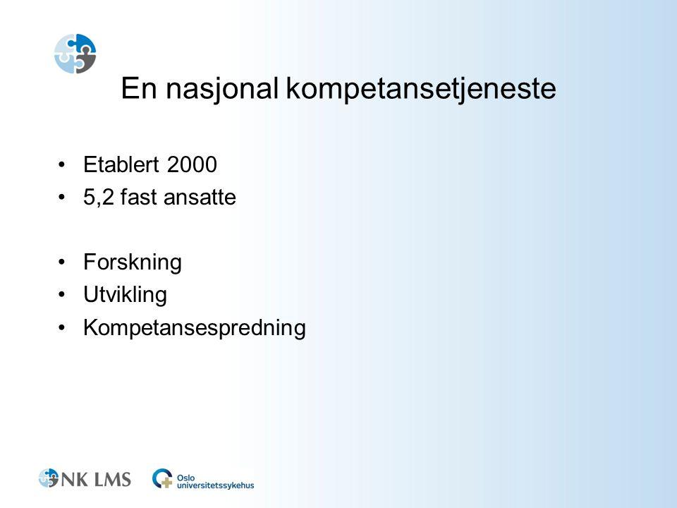 En nasjonal kompetansetjeneste •Etablert 2000 •5,2 fast ansatte •Forskning •Utvikling •Kompetansespredning