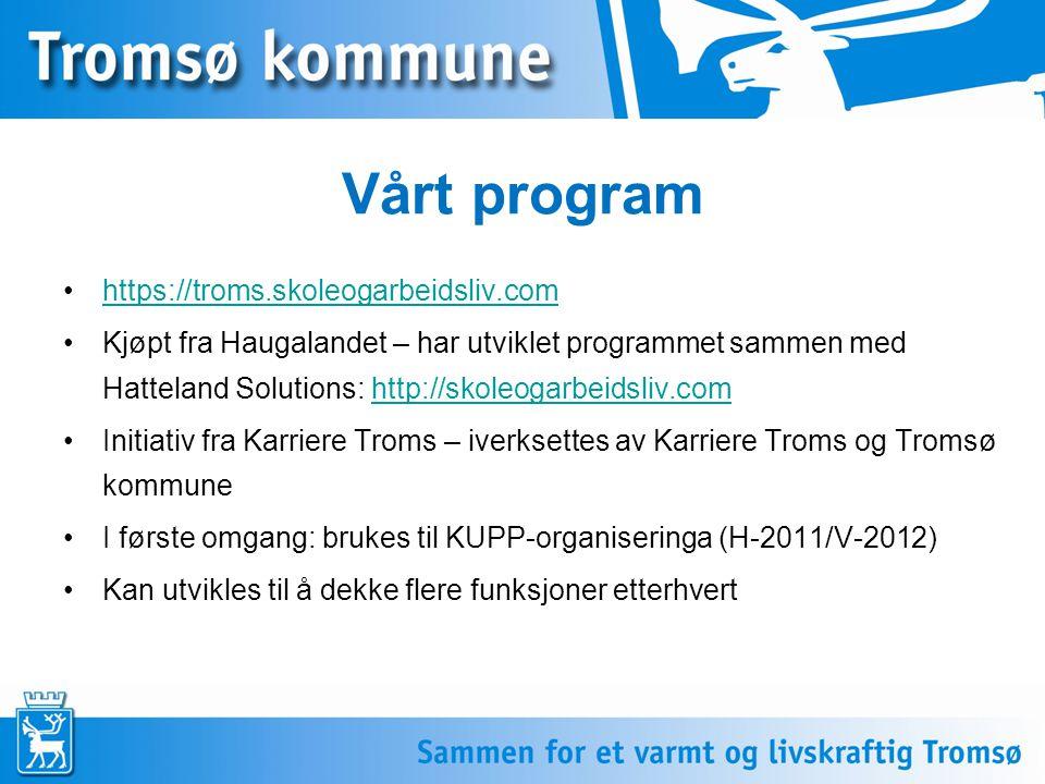 Vårt program •https://troms.skoleogarbeidsliv.comhttps://troms.skoleogarbeidsliv.com •Kjøpt fra Haugalandet – har utviklet programmet sammen med Hatteland Solutions: http://skoleogarbeidsliv.comhttp://skoleogarbeidsliv.com •Initiativ fra Karriere Troms – iverksettes av Karriere Troms og Tromsø kommune •I første omgang: brukes til KUPP-organiseringa (H-2011/V-2012) •Kan utvikles til å dekke flere funksjoner etterhvert