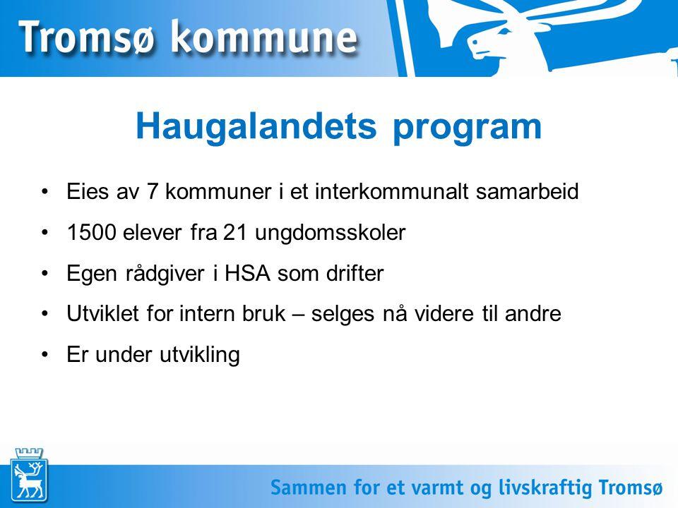 Haugalandets program •Eies av 7 kommuner i et interkommunalt samarbeid •1500 elever fra 21 ungdomsskoler •Egen rådgiver i HSA som drifter •Utviklet for intern bruk – selges nå videre til andre •Er under utvikling
