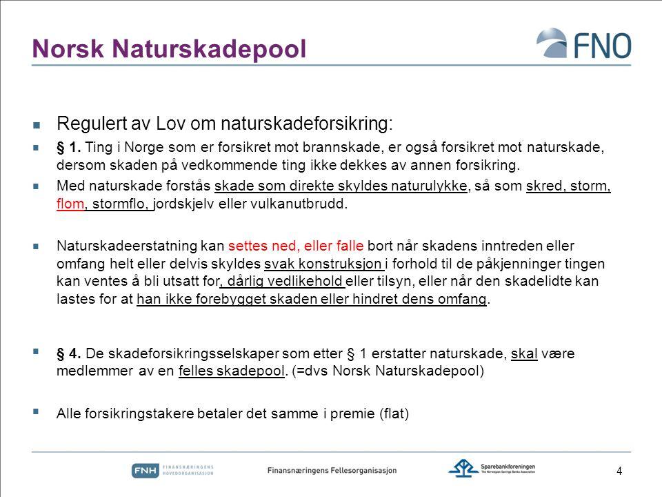 Norsk Naturskadepool  Regulert av Lov om naturskadeforsikring:  § 1. Ting i Norge som er forsikret mot brannskade, er også forsikret mot naturskade,