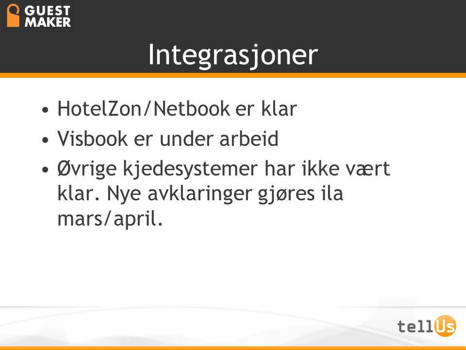 Integrasjoner •HotelZon/Netbook er klar •Visbook er under arbeid •Øvrige kjedesystemer har ikke vært klar. Nye avklaringer gjøres ila mars/april.