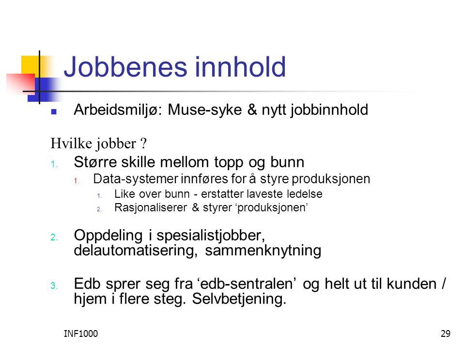 INF100029 Jobbenes innhold  Arbeidsmiljø: Muse-syke & nytt jobbinnhold Hvilke jobber .