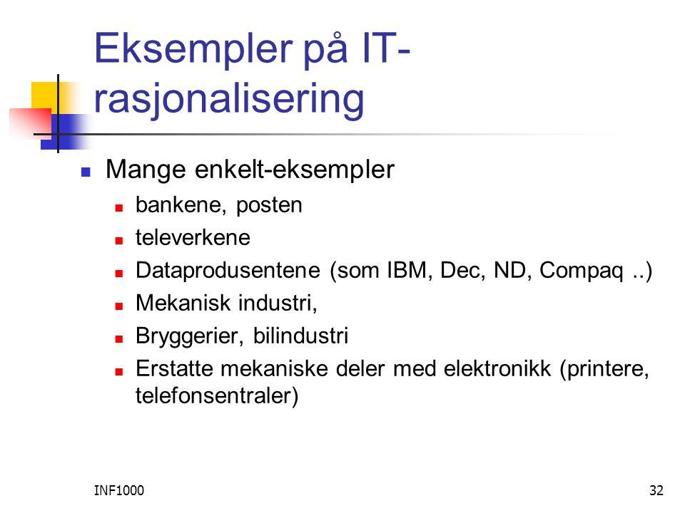 INF100032 Eksempler på IT- rasjonalisering  Mange enkelt-eksempler  bankene, posten  televerkene  Dataprodusentene (som IBM, Dec, ND, Compaq..)  Mekanisk industri,  Bryggerier, bilindustri  Erstatte mekaniske deler med elektronikk (printere, telefonsentraler)